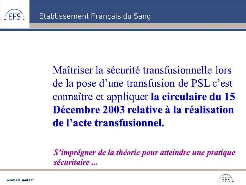 la circulaire du 15 Décembre 2003 relative à la réalisation de lacte transfusionnel. Maîtriser la sécurité transfusionnelle lors de la pose dune trans