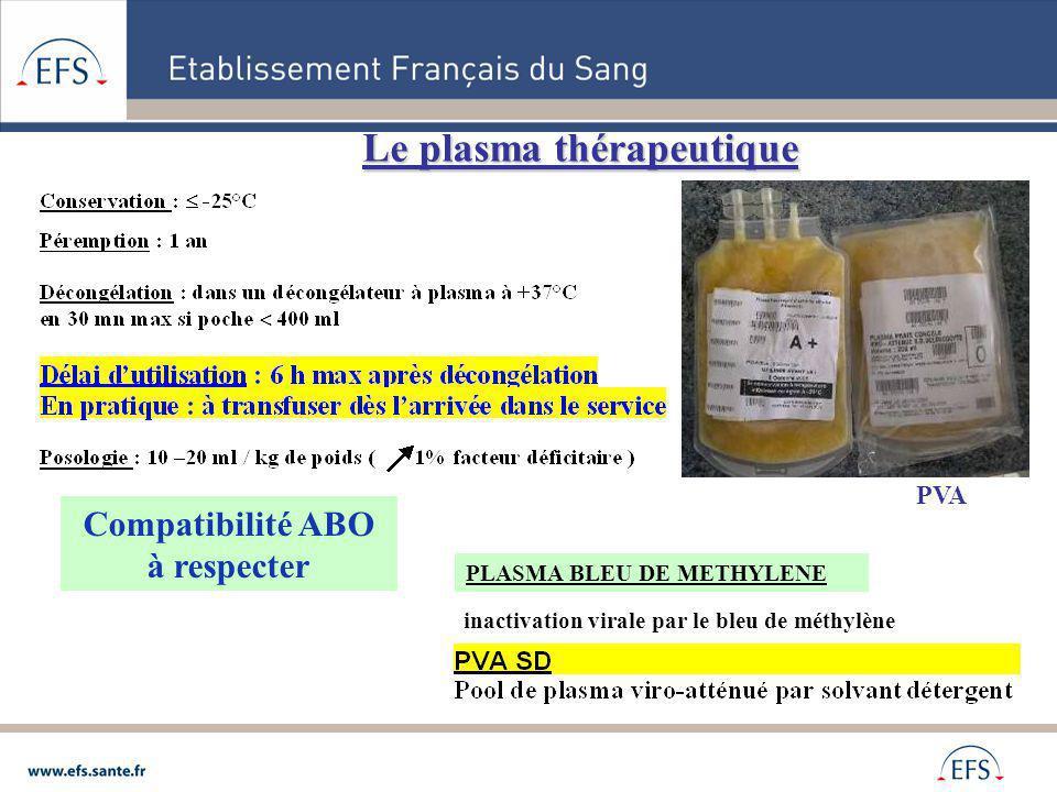 Le plasma thérapeutique PVA Compatibilité ABO à respecter PLASMA BLEU DE METHYLENE inactivation virale par le bleu de méthylène