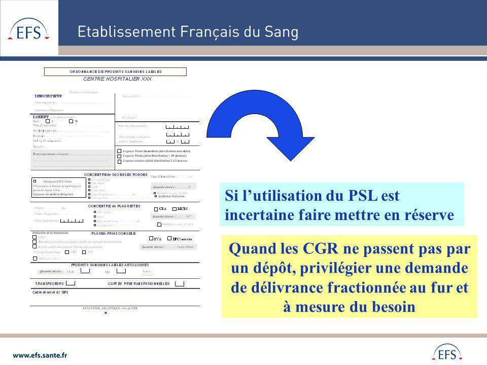 Si lutilisation du PSL est incertaine faire mettre en réserve Quand les CGR ne passent pas par un dépôt, privilégier une demande de délivrance fractio