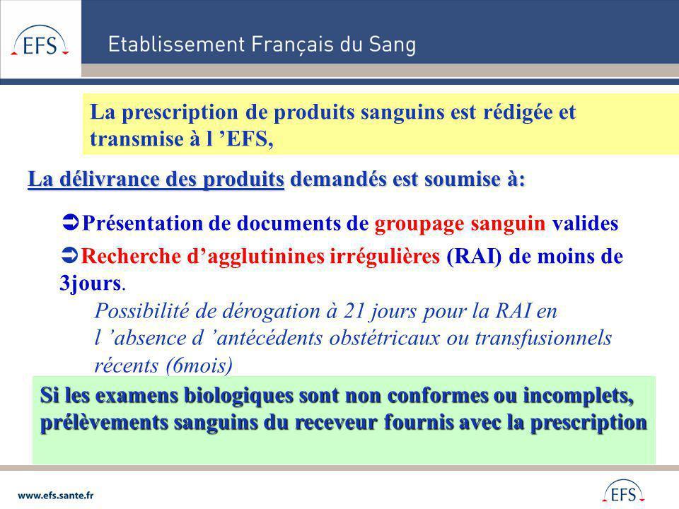 La prescription de produits sanguins est rédigée et transmise à l EFS, La délivrance des produits demandés est soumise à: Présentation de documents de