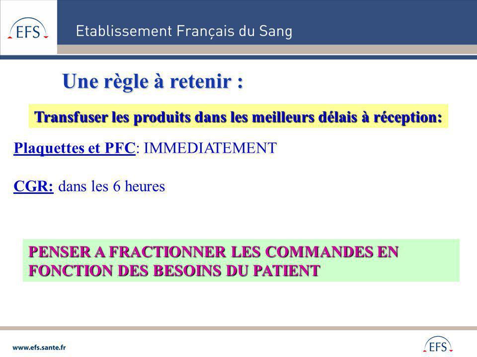 Plaquettes et PFC: IMMEDIATEMENT CGR: dans les 6 heures Une règle à retenir : Transfuser les produits dans les meilleurs délais à réception: PENSER A