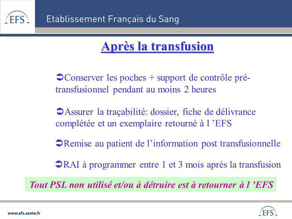 Conserver les poches + support de contrôle pré- transfusionnel pendant au moins 2 heures Tout PSL non utilisé et/ou à détruire est à retourner à l EFS
