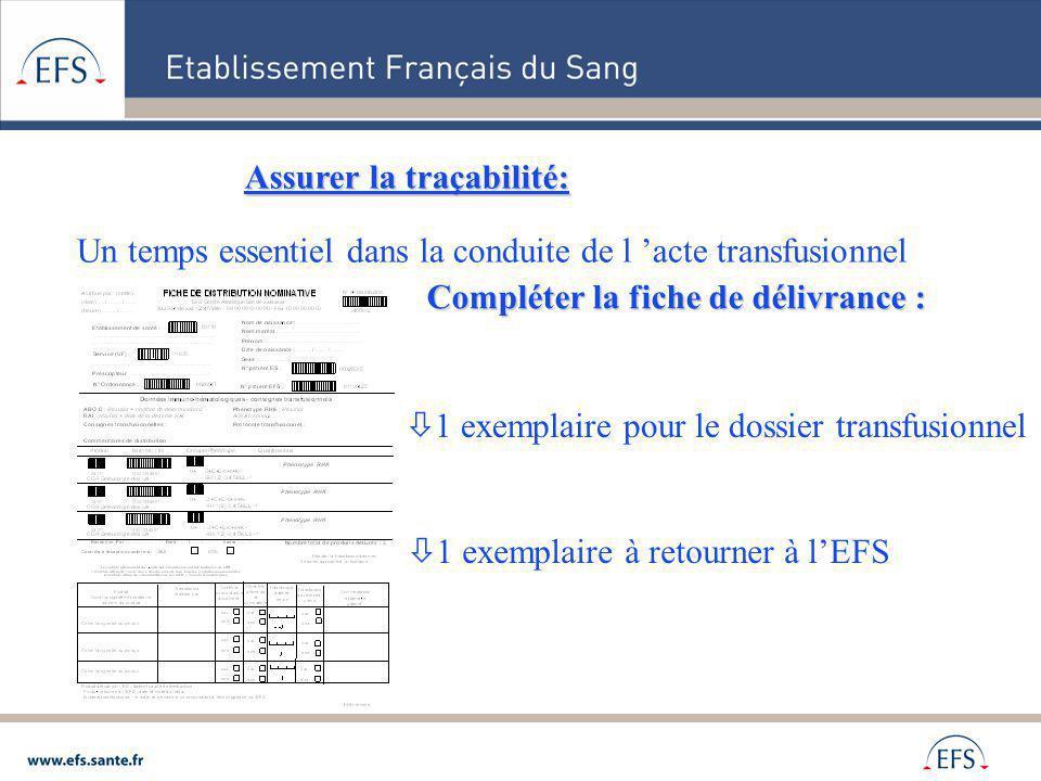 Assurer la traçabilité: Un temps essentiel dans la conduite de l acte transfusionnel Compléter la fiche de délivrance : 1 exemplaire pour le dossier t