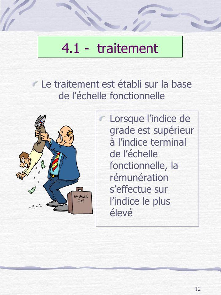 12 4.1 - traitement Lorsque lindice de grade est supérieur à lindice terminal de léchelle fonctionnelle, la rémunération seffectue sur lindice le plus