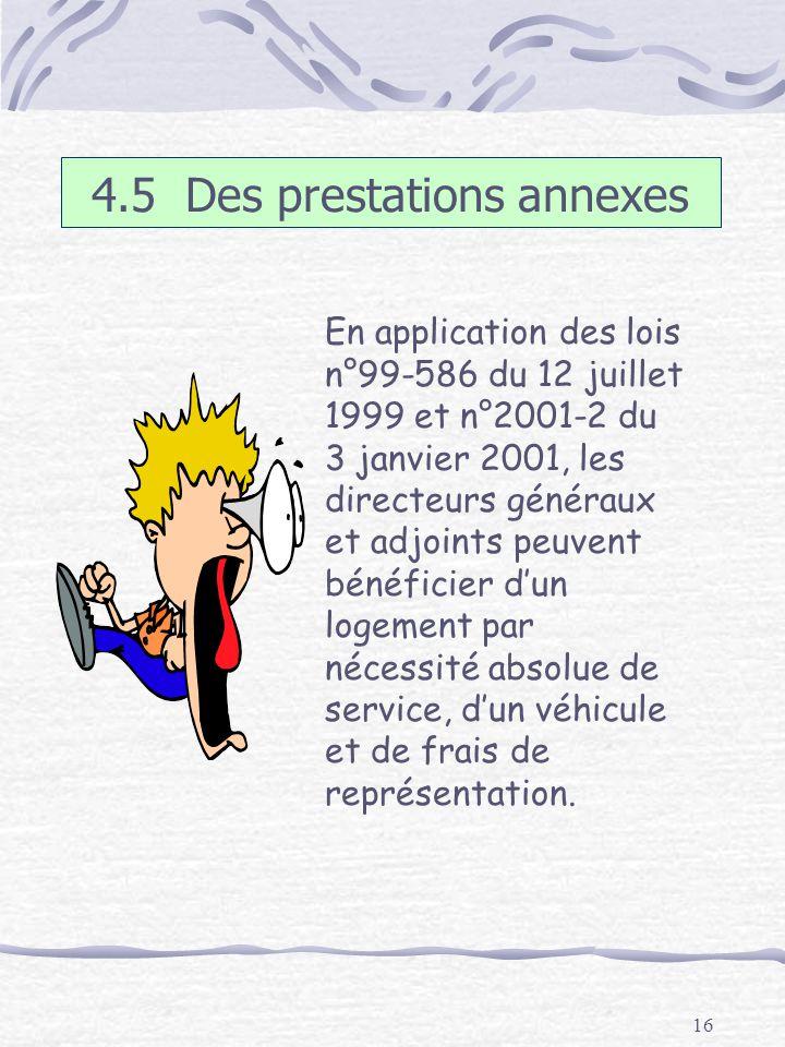 16 4.5 Des prestations annexes En application des lois n°99-586 du 12 juillet 1999 et n°2001-2 du 3 janvier 2001, les directeurs généraux et adjoints