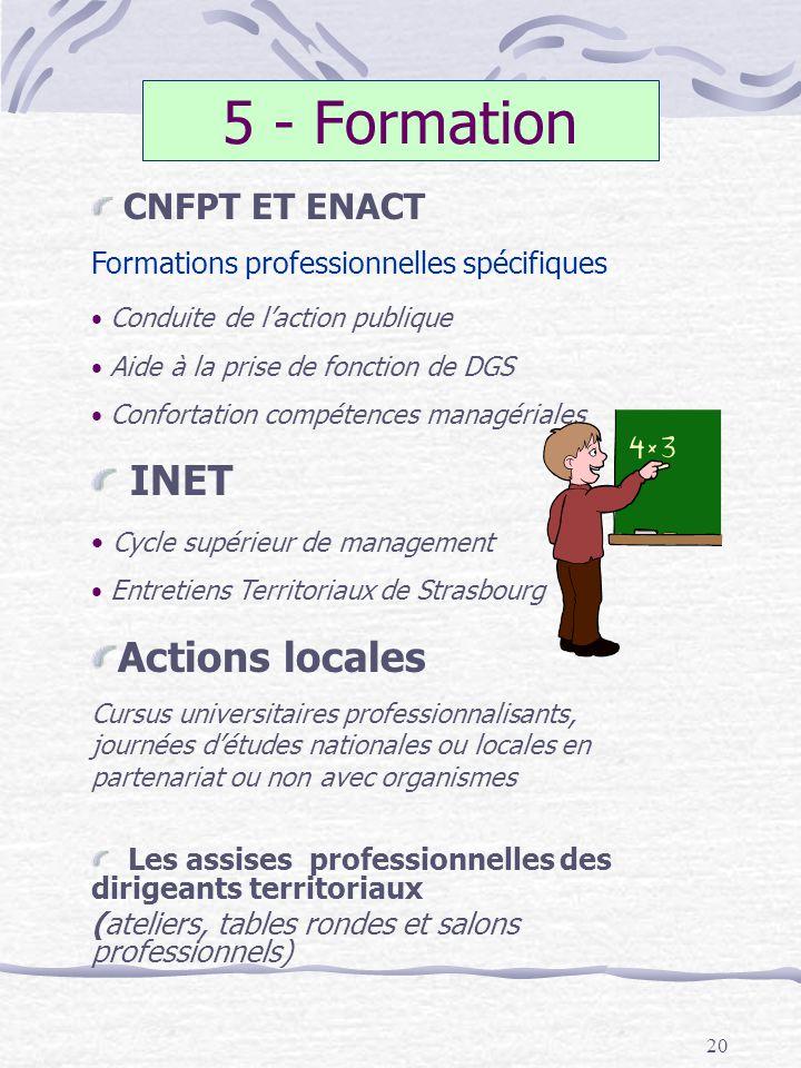 20 5 - Formation CNFPT ET ENACT Formations professionnelles spécifiques Conduite de laction publique Aide à la prise de fonction de DGS Confortation c