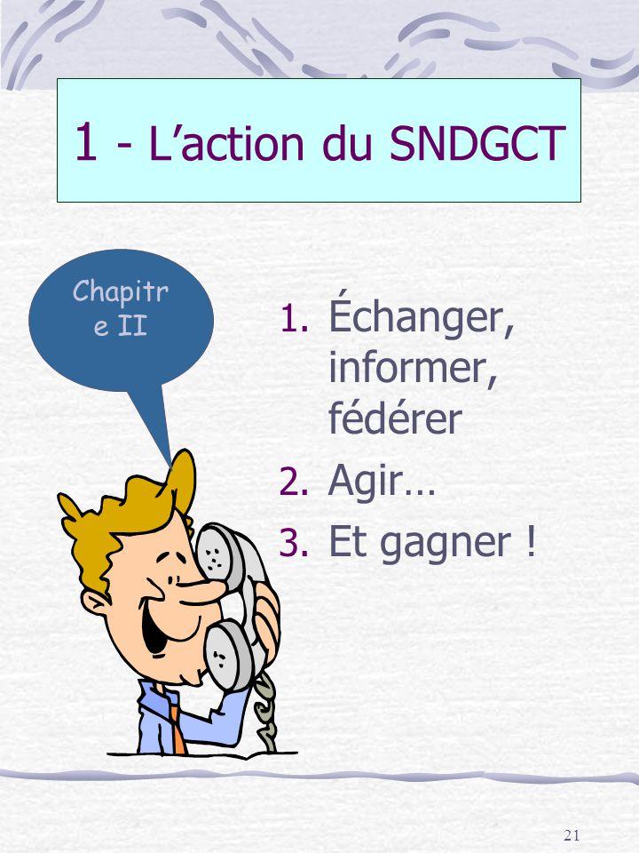21 1 - Laction du SNDGCT 1. Échanger, informer, fédérer 2. Agir… 3. Et gagner ! Chapitr e II