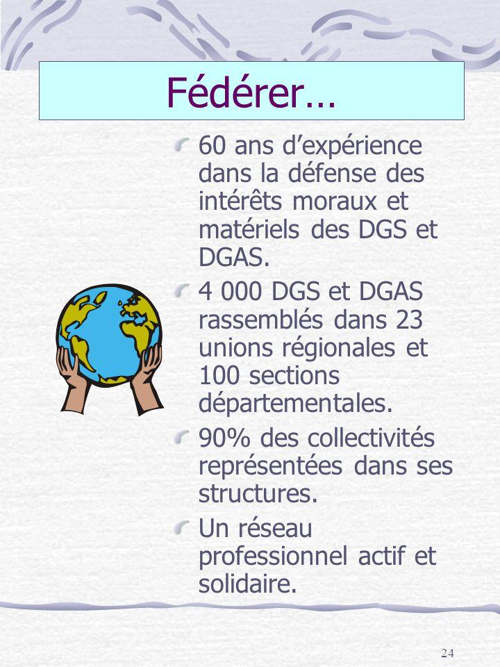 24 Fédérer… 60 ans dexpérience dans la défense des intérêts moraux et matériels des DGS et DGAS. 4 000 DGS et DGAS rassemblés dans 23 unions régionale