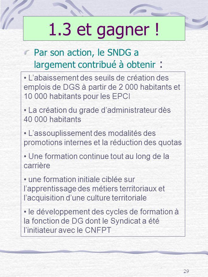 29 1.3 et gagner ! Par son action, le SNDG a largement contribué à obtenir : Labaissement des seuils de création des emplois de DGS à partir de 2 000