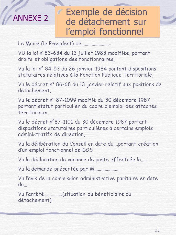 31 ANNEXE 2 Exemple de décision de détachement sur lemploi fonctionnel Le Maire (le Président) de…………………….. VU la loi n°83-634 du 13 juillet 1983 modi