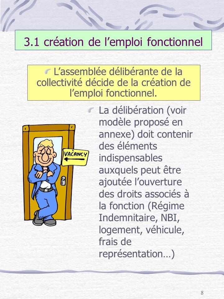8 3.1 création de lemploi fonctionnel La délibération (voir modèle proposé en annexe) doit contenir des éléments indispensables auxquels peut être ajo