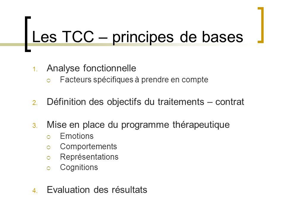 Les TCC – principes de bases 1. Analyse fonctionnelle Facteurs spécifiques à prendre en compte 2. Définition des objectifs du traitements – contrat 3.