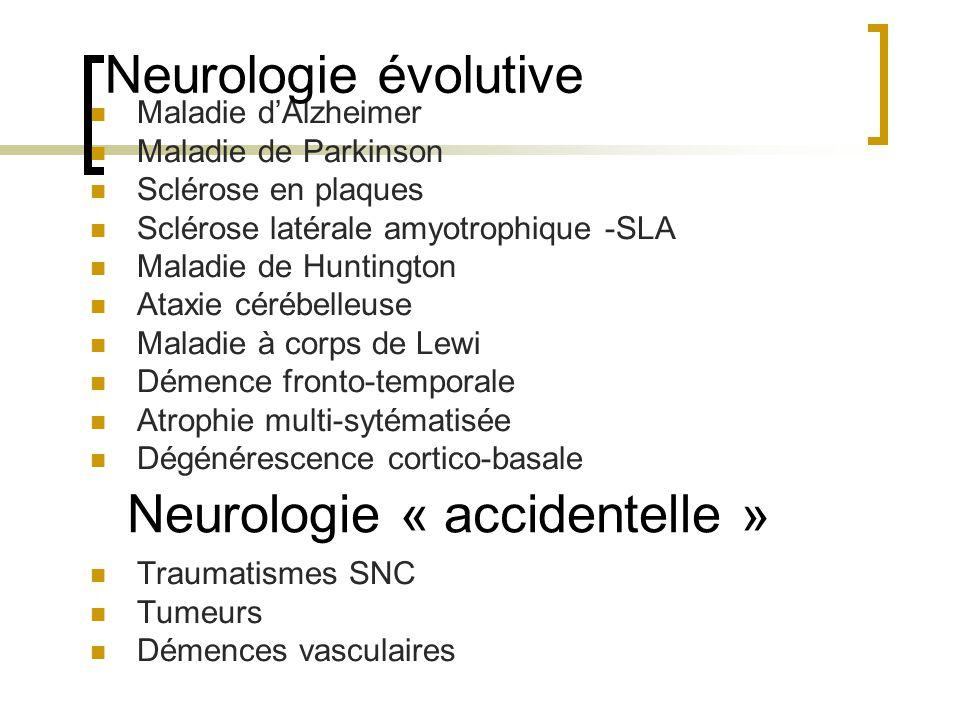 Maladie dAlzheimer Maladie de Parkinson Sclérose en plaques Sclérose latérale amyotrophique -SLA Maladie de Huntington Ataxie cérébelleuse Maladie à c