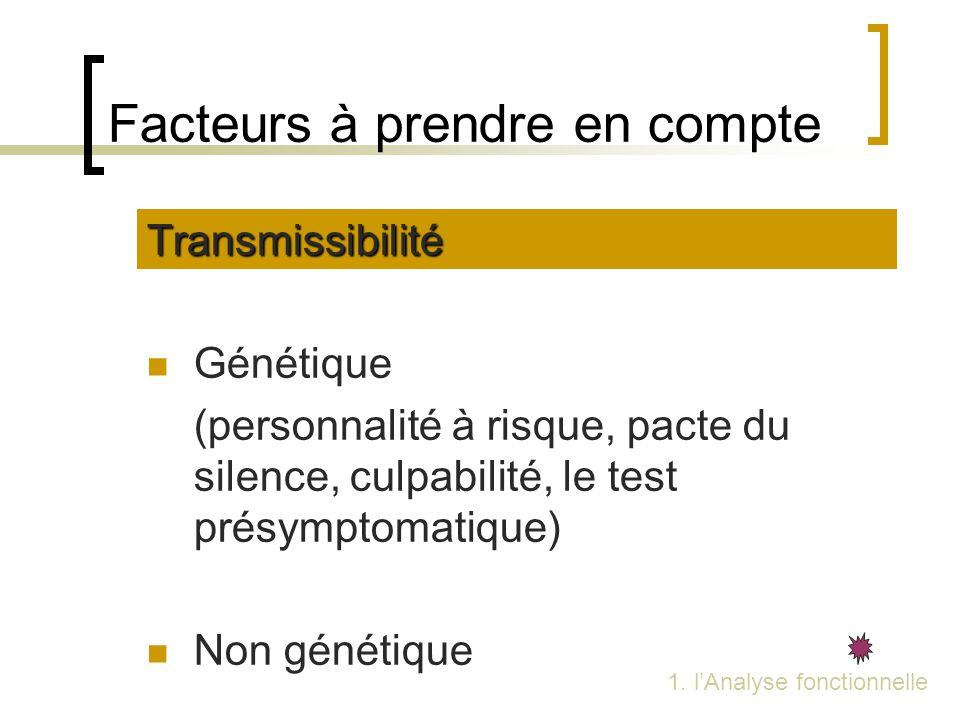 Facteurs à prendre en compte Transmissibilité Génétique (personnalité à risque, pacte du silence, culpabilité, le test présymptomatique) Non génétique