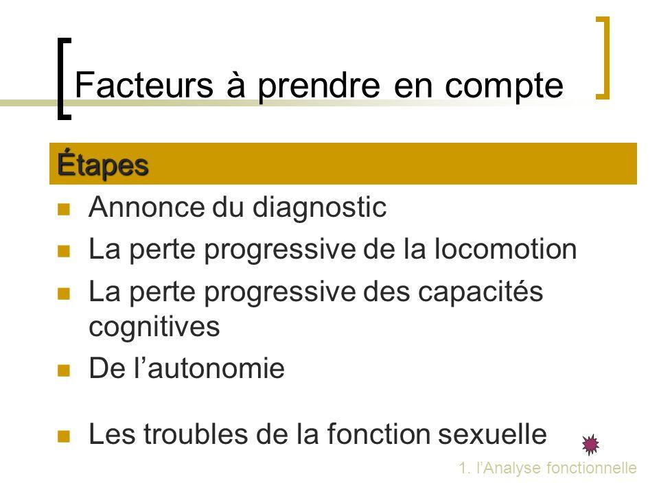 Facteurs à prendre en compte Étapes Annonce du diagnostic La perte progressive de la locomotion La perte progressive des capacités cognitives De lauto