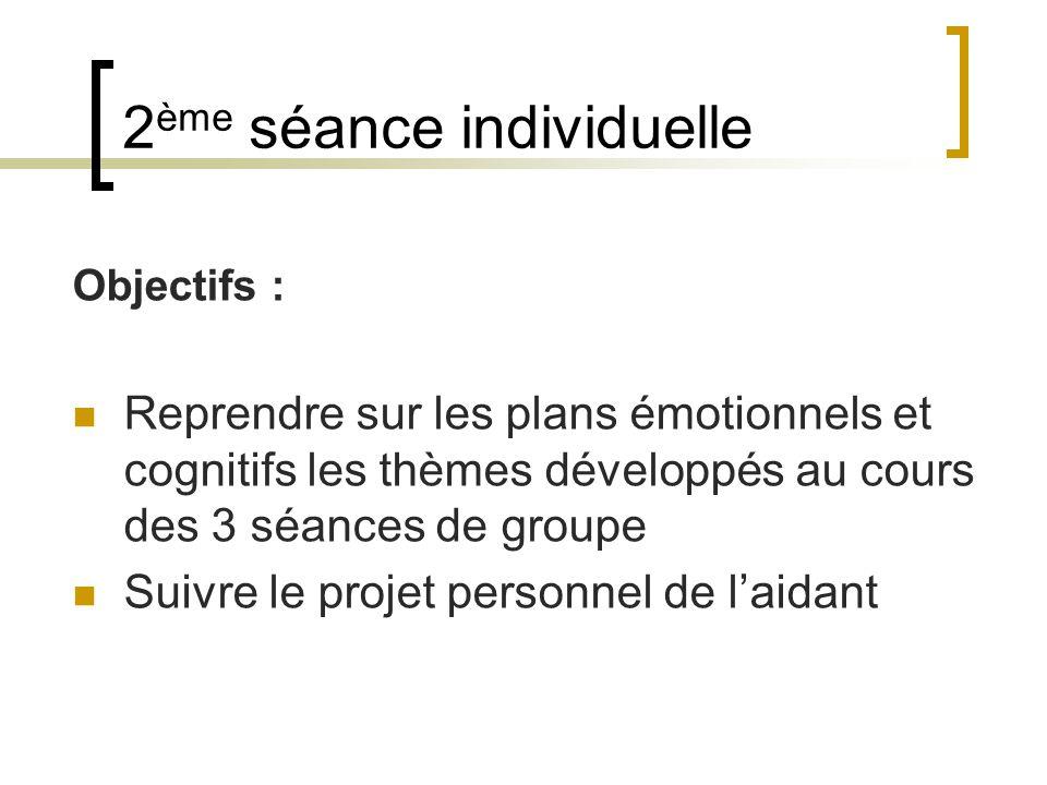 2 ème séance individuelle Objectifs : Reprendre sur les plans émotionnels et cognitifs les thèmes développés au cours des 3 séances de groupe Suivre l