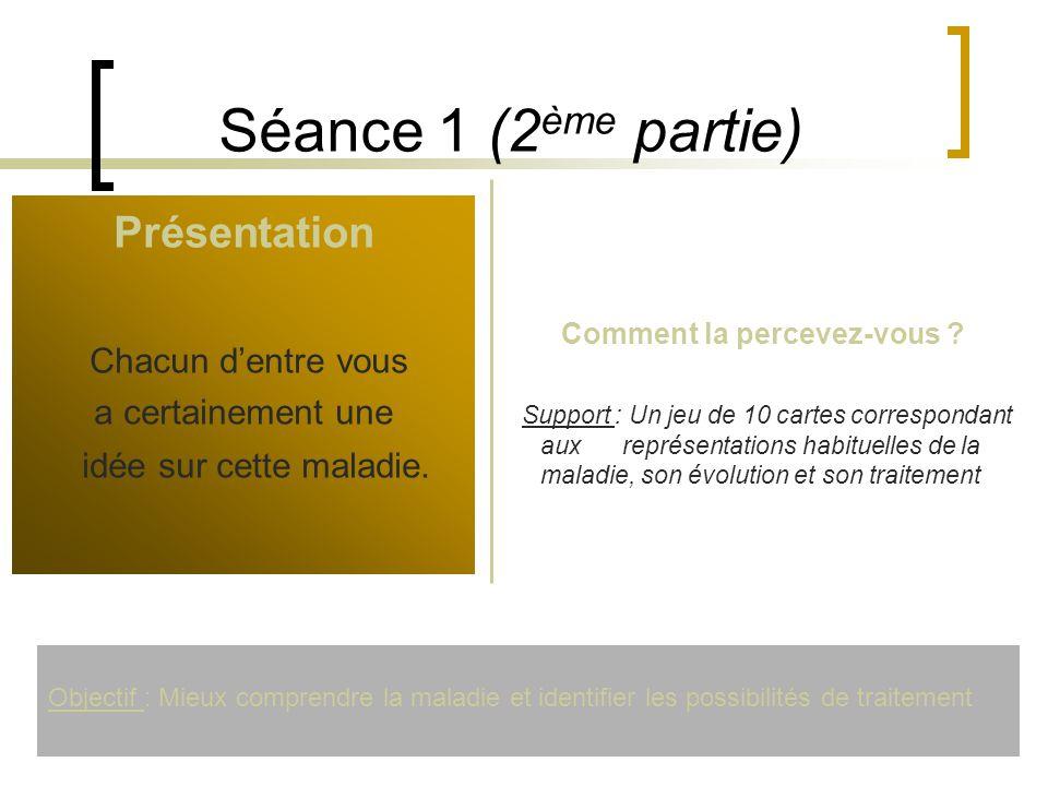 Séance 1 (2 ème partie) Présentation Chacun dentre vous a certainement une idée sur cette maladie. Comment la percevez-vous ? Support : Un jeu de 10 c