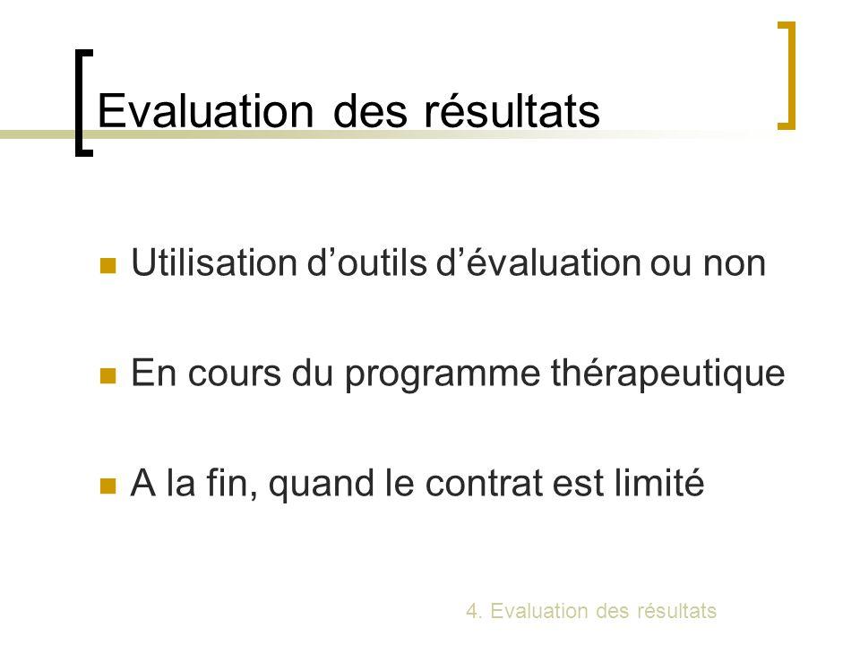 Evaluation des résultats Utilisation doutils dévaluation ou non En cours du programme thérapeutique A la fin, quand le contrat est limité 4. Evaluatio