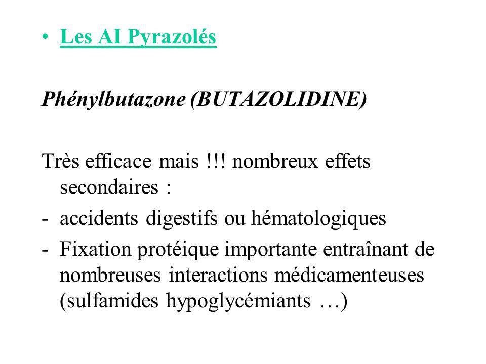 Les AI Pyrazolés Phénylbutazone (BUTAZOLIDINE) Très efficace mais !!! nombreux effets secondaires : -accidents digestifs ou hématologiques -Fixation p