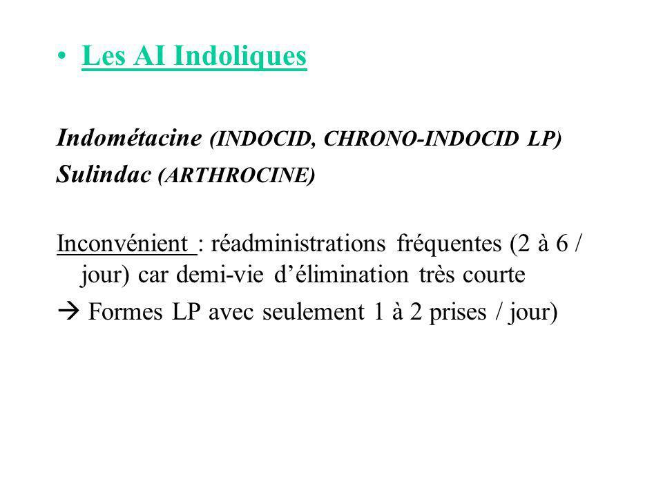 Les AI Indoliques Indométacine (INDOCID, CHRONO-INDOCID LP) Sulindac (ARTHROCINE) Inconvénient : réadministrations fréquentes (2 à 6 / jour) car demi-