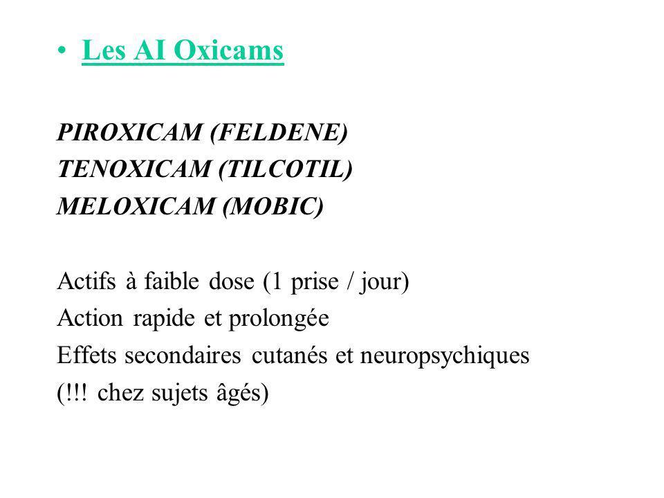 Les AI Oxicams PIROXICAM (FELDENE) TENOXICAM (TILCOTIL) MELOXICAM (MOBIC) Actifs à faible dose (1 prise / jour) Action rapide et prolongée Effets seco