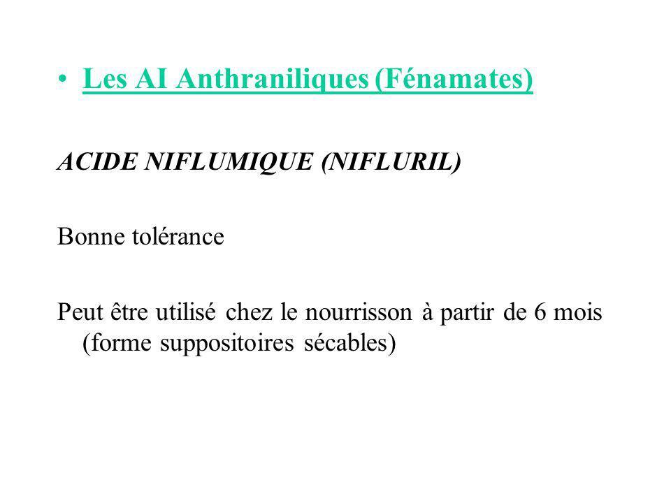 Les AI Anthraniliques (Fénamates) ACIDE NIFLUMIQUE (NIFLURIL) Bonne tolérance Peut être utilisé chez le nourrisson à partir de 6 mois (forme supposito