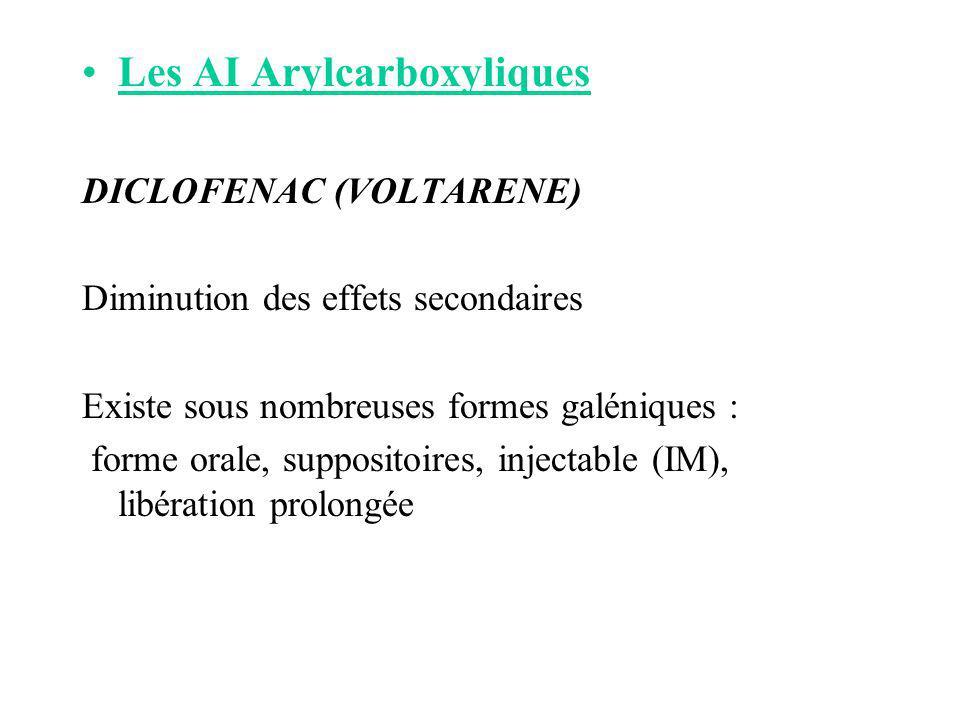 Les AI Arylcarboxyliques DICLOFENAC (VOLTARENE) Diminution des effets secondaires Existe sous nombreuses formes galéniques : forme orale, suppositoire