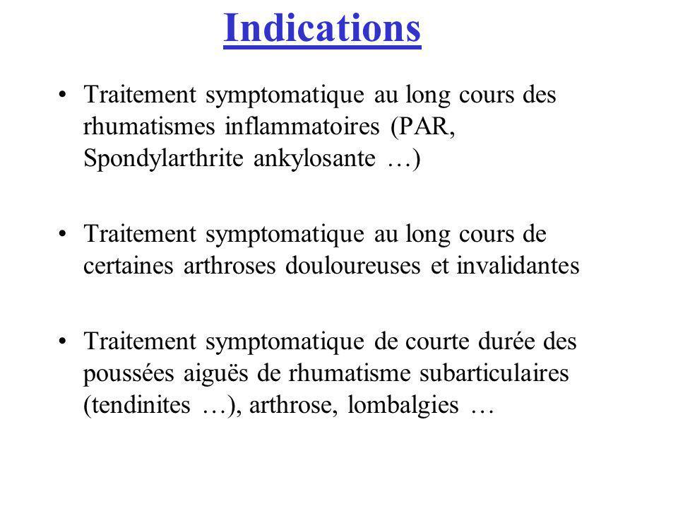 Indications Traitement symptomatique au long cours des rhumatismes inflammatoires (PAR, Spondylarthrite ankylosante …) Traitement symptomatique au lon