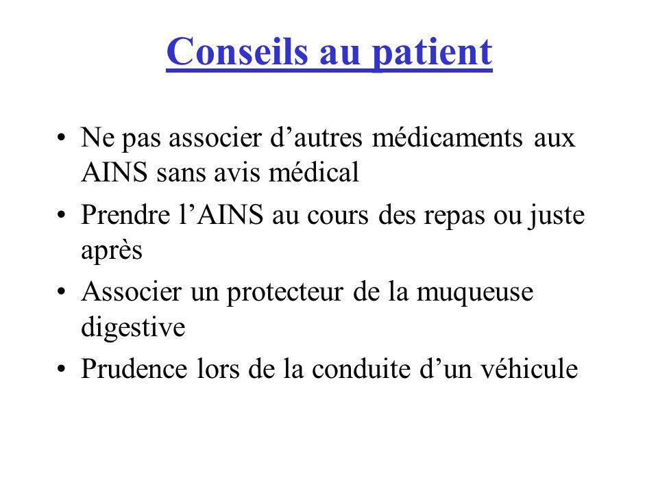 Conseils au patient Ne pas associer dautres médicaments aux AINS sans avis médical Prendre lAINS au cours des repas ou juste après Associer un protect