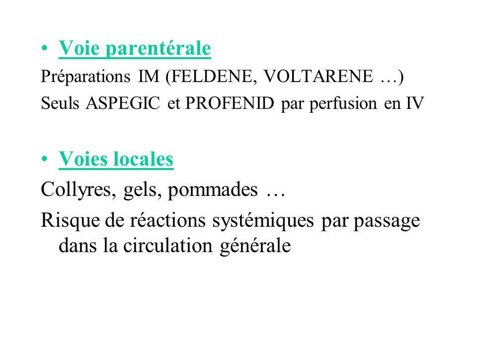 Voie parentérale Préparations IM (FELDENE, VOLTARENE …) Seuls ASPEGIC et PROFENID par perfusion en IV Voies locales Collyres, gels, pommades … Risque