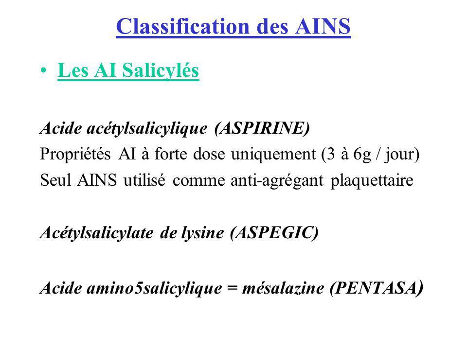 Classification des AINS Les AI Salicylés Acide acétylsalicylique (ASPIRINE) Propriétés AI à forte dose uniquement (3 à 6g / jour) Seul AINS utilisé co