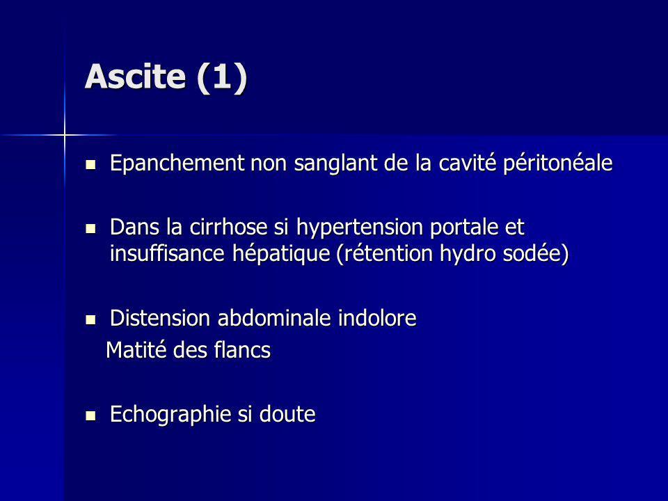 Ascite (1) Epanchement non sanglant de la cavité péritonéale Epanchement non sanglant de la cavité péritonéale Dans la cirrhose si hypertension portal