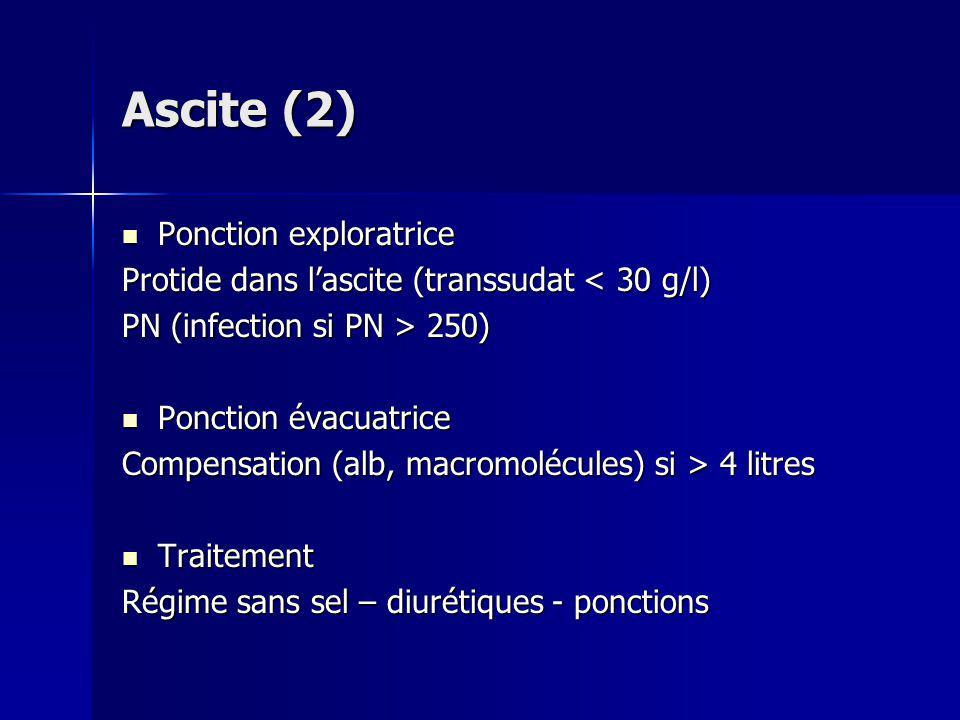 Ascite (2) Ponction exploratrice Ponction exploratrice Protide dans lascite (transsudat < 30 g/l) PN (infection si PN > 250) Ponction évacuatrice Ponc