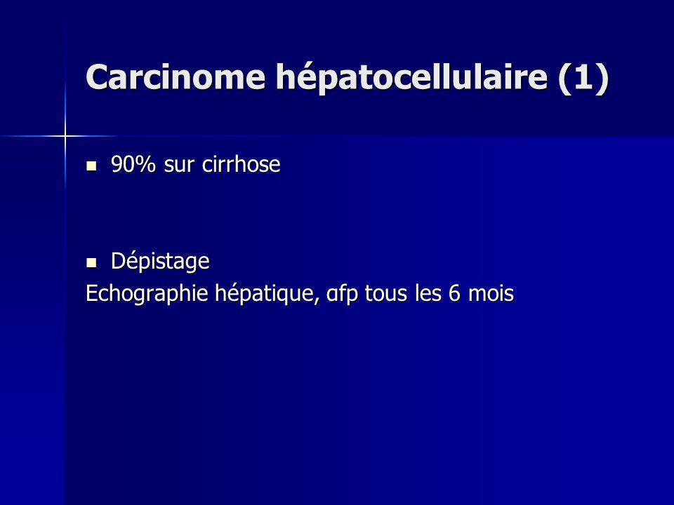 Carcinome hépatocellulaire (1) 90% sur cirrhose 90% sur cirrhose Dépistage Dépistage Echographie hépatique, αfp tous les 6 mois
