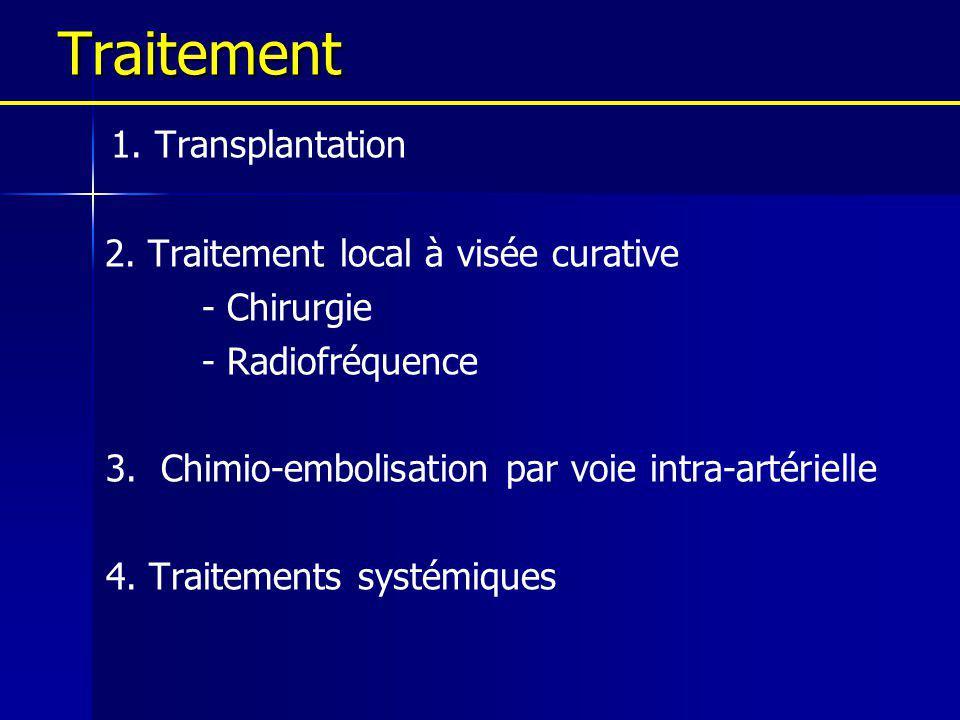 Traitement 1. Transplantation 2. Traitement local à visée curative - Chirurgie - Radiofréquence 3. Chimio-embolisation par voie intra-artérielle 4. Tr