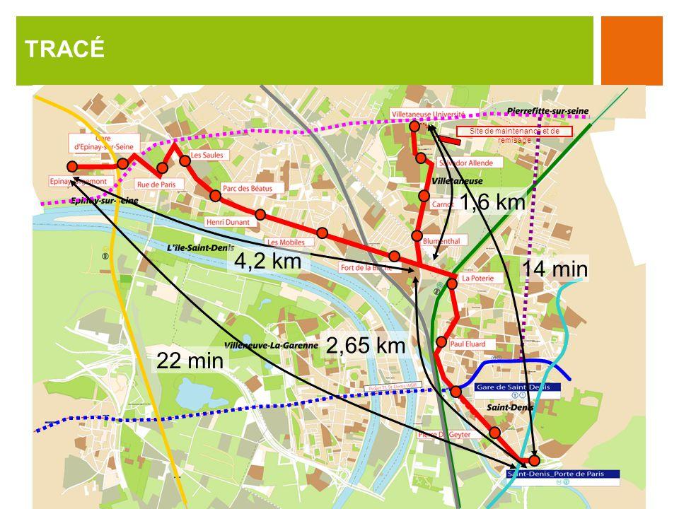 TRACÉ Site de maintenance et de remisage 2,65 km 4,2 km 1,6 km 22 min 14 min