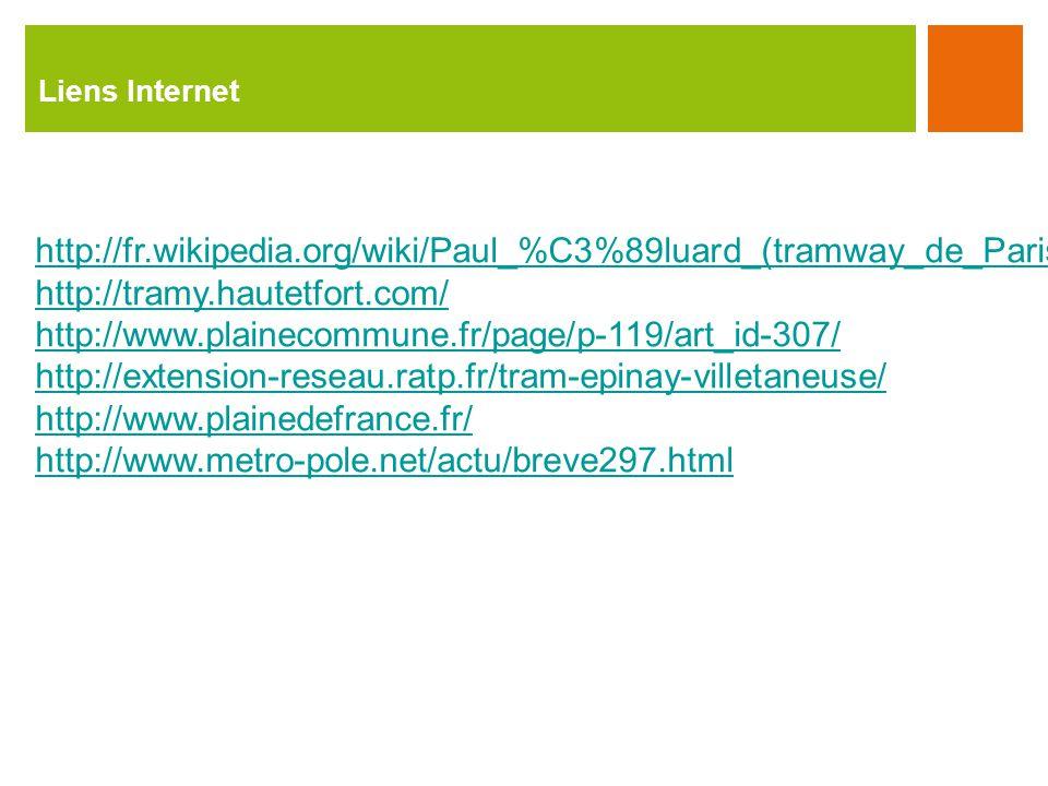 Liens Internet http://fr.wikipedia.org/wiki/Paul_%C3%89luard_(tramway_de_Parishttp://fr.wikipedia.org/wiki/Paul_%C3%89luard_(tramway_de_Paris) http://tramy.hautetfort.com/ http://www.plainecommune.fr/page/p-119/art_id-307/ http://extension-reseau.ratp.fr/tram-epinay-villetaneuse/ http://www.plainedefrance.fr/ http://www.metro-pole.net/actu/breve297.html