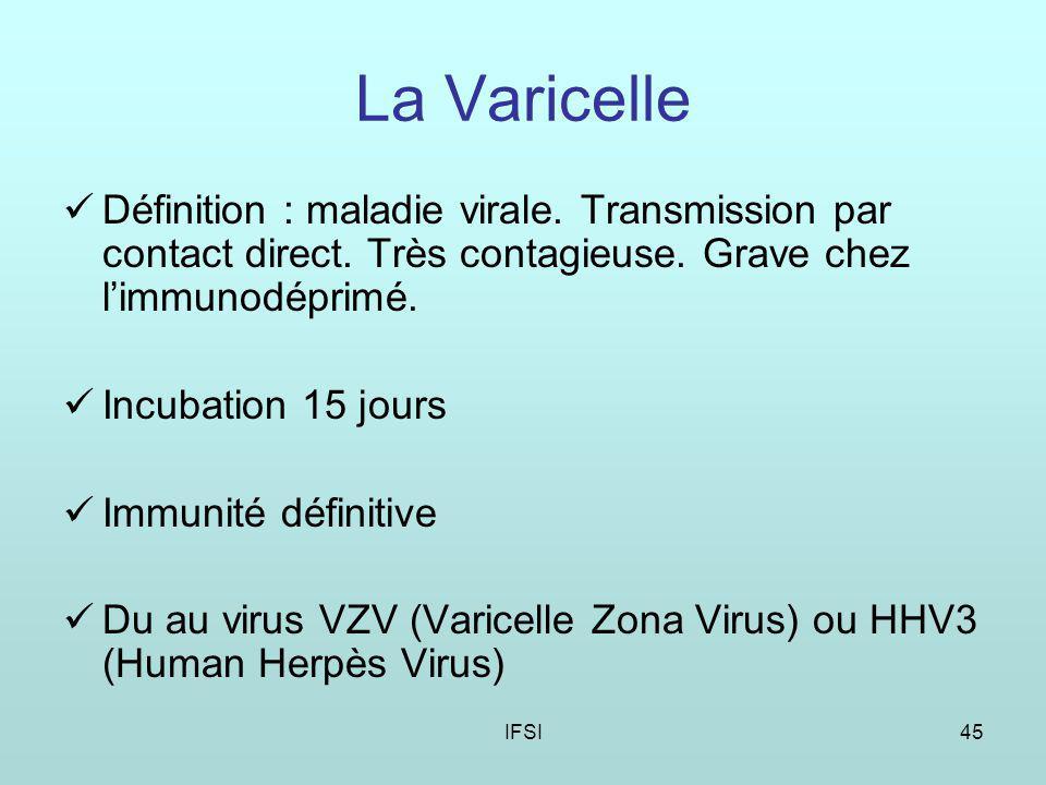 IFSI45 La Varicelle Définition : maladie virale.Transmission par contact direct.