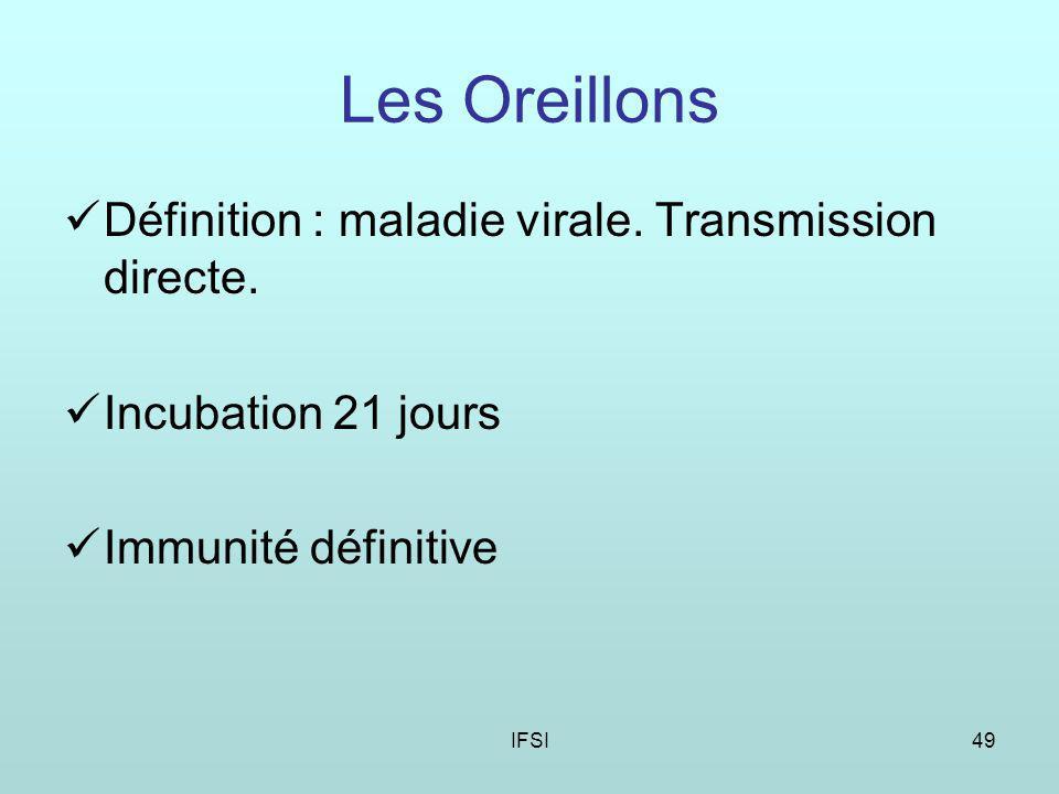 IFSI49 Les Oreillons Définition : maladie virale.Transmission directe.