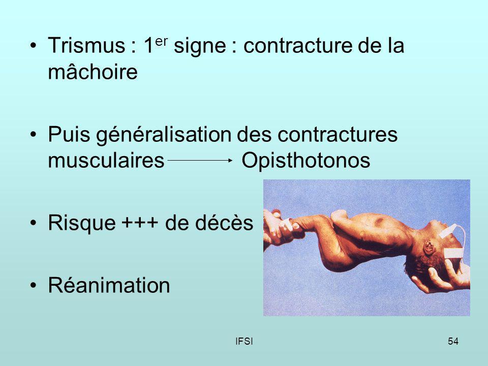 IFSI54 Trismus : 1 er signe : contracture de la mâchoire Puis généralisation des contractures musculaires Opisthotonos Risque +++ de décès Réanimation