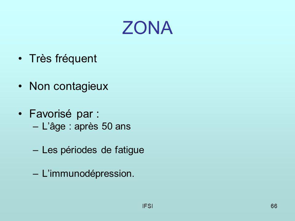 IFSI66 ZONA Très fréquent Non contagieux Favorisé par : –Lâge : après 50 ans –Les périodes de fatigue –Limmunodépression.