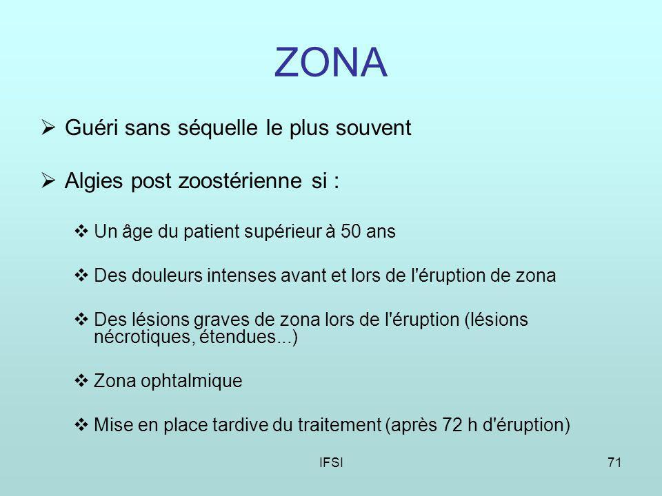 IFSI71 ZONA Guéri sans séquelle le plus souvent Algies post zoostérienne si : Un âge du patient supérieur à 50 ans Des douleurs intenses avant et lors de l éruption de zona Des lésions graves de zona lors de l éruption (lésions nécrotiques, étendues...) Zona ophtalmique Mise en place tardive du traitement (après 72 h d éruption)