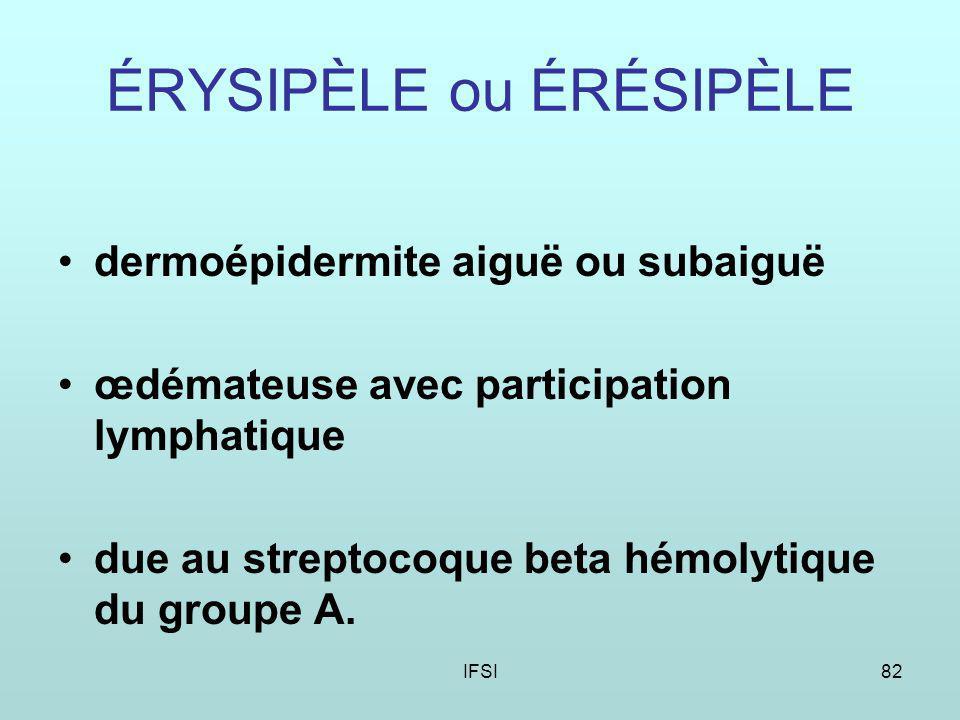 IFSI82 ÉRYSIPÈLE ou ÉRÉSIPÈLE dermoépidermite aiguë ou subaiguë œdémateuse avec participation lymphatique due au streptocoque beta hémolytique du groupe A.