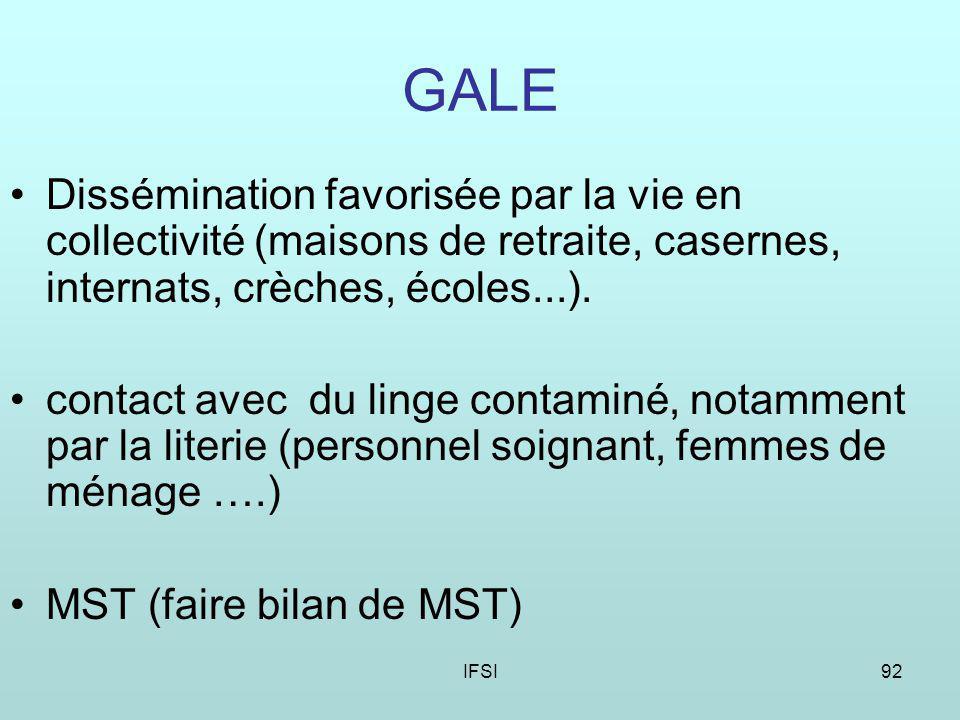 IFSI92 GALE Dissémination favorisée par la vie en collectivité (maisons de retraite, casernes, internats, crèches, écoles...).