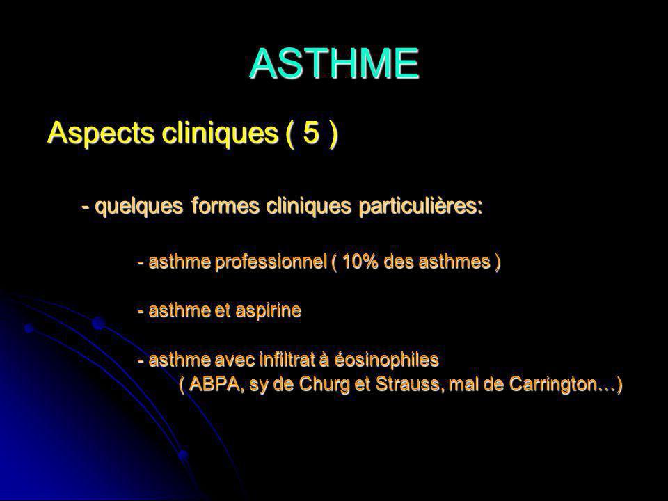 ASTHME Aspects cliniques ( 5 ) Aspects cliniques ( 5 ) - quelques formes cliniques particulières: - quelques formes cliniques particulières: - asthme professionnel ( 10% des asthmes ) - asthme professionnel ( 10% des asthmes ) - asthme et aspirine - asthme et aspirine - asthme avec infiltrat à éosinophiles - asthme avec infiltrat à éosinophiles ( ABPA, sy de Churg et Strauss, mal de Carrington…) ( ABPA, sy de Churg et Strauss, mal de Carrington…)