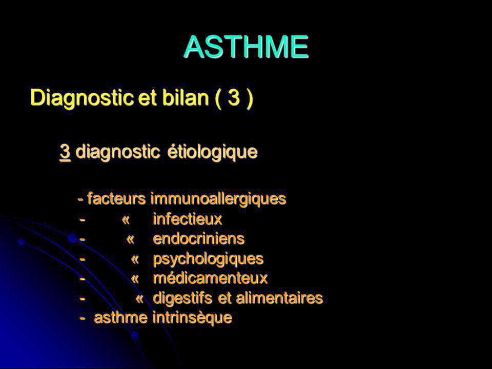 ASTHME Diagnostic et bilan ( 3 ) 3 diagnostic étiologique 3 diagnostic étiologique - facteurs immunoallergiques - facteurs immunoallergiques - « infectieux - « infectieux - « endocriniens - « endocriniens - « psychologiques - « psychologiques - « médicamenteux - « médicamenteux - « digestifs et alimentaires - « digestifs et alimentaires - asthme intrinsèque - asthme intrinsèque