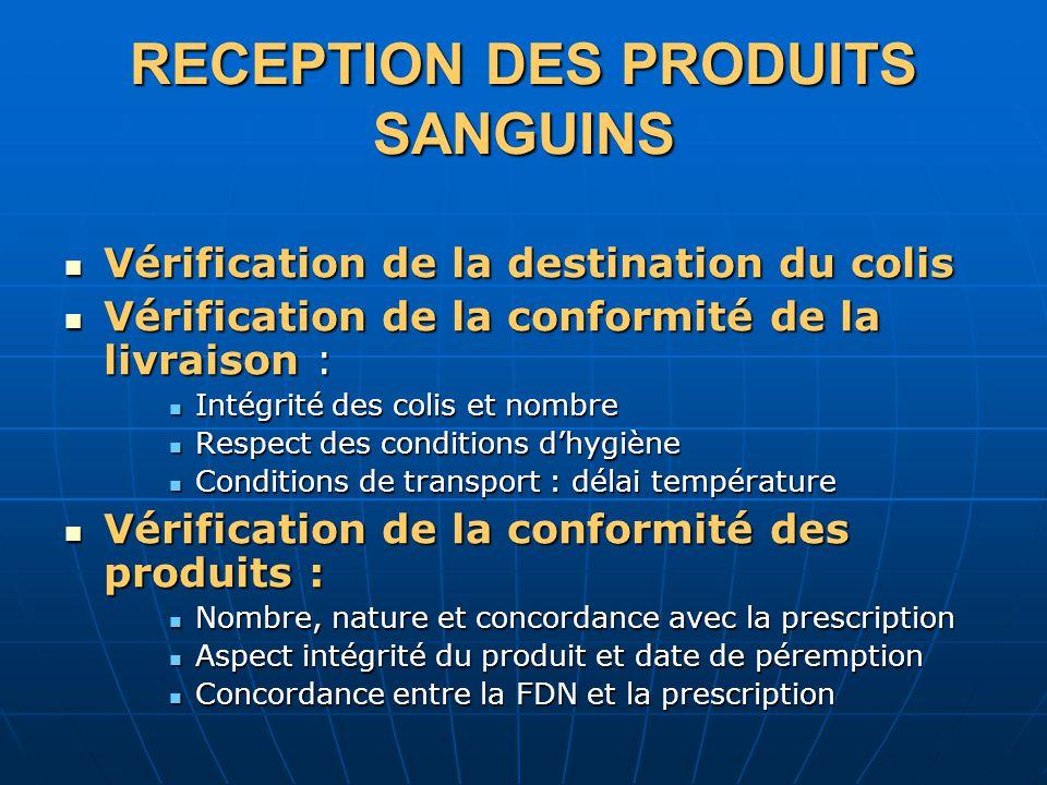 RECEPTION DES PRODUITS SANGUINS Vérification de la destination du colis Vérification de la destination du colis Vérification de la conformité de la li