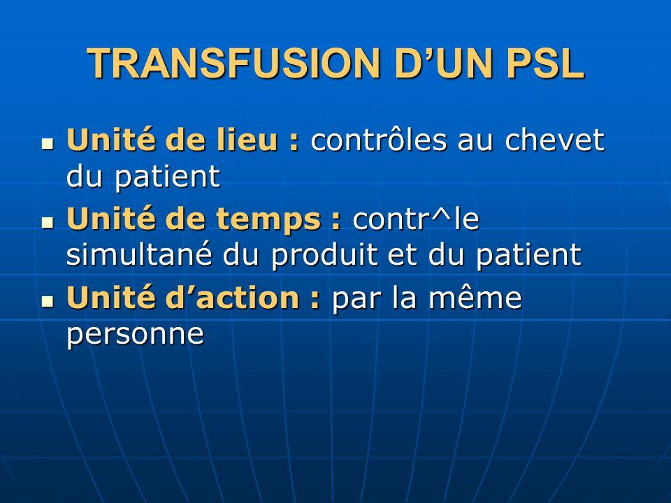 TRANSFUSION DUN PSL Unité de lieu : contrôles au chevet du patient Unité de lieu : contrôles au chevet du patient Unité de temps : contr^le simultané du produit et du patient Unité de temps : contr^le simultané du produit et du patient Unité daction : par la même personne Unité daction : par la même personne