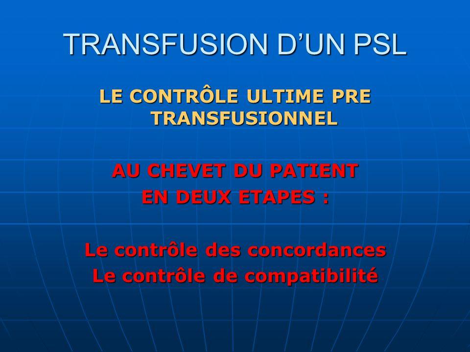 TRANSFUSION DUN PSL LE CONTRÔLE ULTIME PRE TRANSFUSIONNEL AU CHEVET DU PATIENT EN DEUX ETAPES : Le contrôle des concordances Le contrôle de compatibilité
