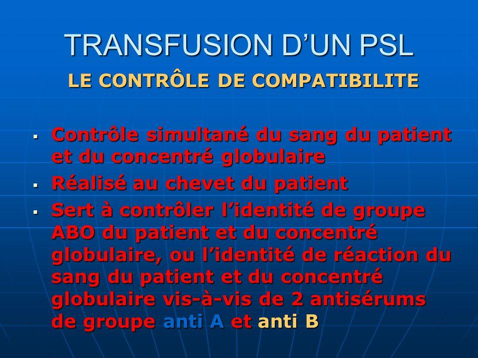TRANSFUSION DUN PSL LE CONTRÔLE DE COMPATIBILITE Contrôle simultané du sang du patient et du concentré globulaire Contrôle simultané du sang du patien